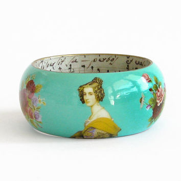 Turquoise wood bangle decoupage victorian rose antique miniature statement bangle