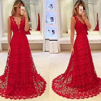 Sleeveless Red V-Neck Lace Prom Dresses,Prom Dress