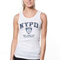 NYPD Ladies White Ribbed Tank with Navy Print