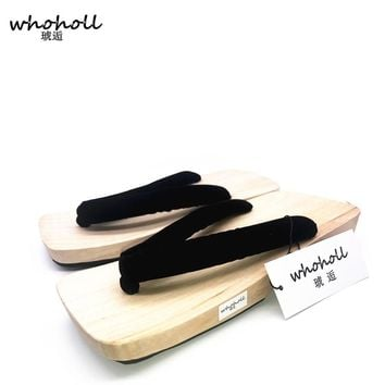 2017 Summer Sandals Man Flip-Flops Japanese Geta Wooden Clogs Slippers Cosplay Mens Bench Geta SandalsFlat Heel Shoe