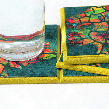 Original art coaster - set of 4 tree drink coasters, colorful art print, House Warming Gift, entertaining and decor Passover Gift (CR044)