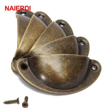 NAIERDI 20PCS Retro Metal Kitchen Drawer Cabinet Door Handle Furniture Knobs Hardware Cupboard Antique Brass Shell Pull Handles