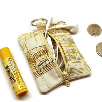 Music theme zippered earbuds case keychain, small coin purse, mini pouch. Music lover gift idea. Metallic gold and cream.