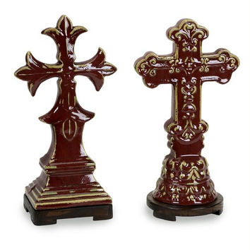 2 Cross Figures - Wooden Bases