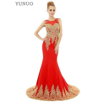Black Red White Mermaid Prom Dresses Luxury Gold Appliques Floor Length Party Dress Formal Gowns Fashion Prom Dress