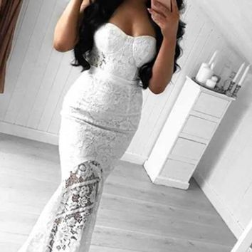 Sweeten The Deal White Sheer Lace Strapless Bustier High Low Fishtail Bodycon Bandage Maxi Dress
