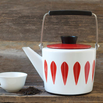 Rare Cathrineholm Enamelware Red Lotus Design Teapot