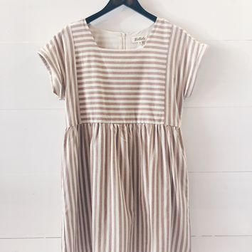 Peyton Pleated Stripe Dress In Taupe