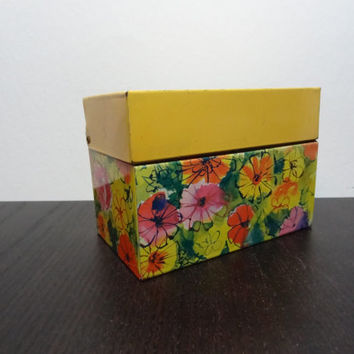 Vintage Groovy Retro Floral Metal Recipe File Box with Yellow, Green, Orange and Pink Flowers, Ohio Art Co., USA - Flower Power