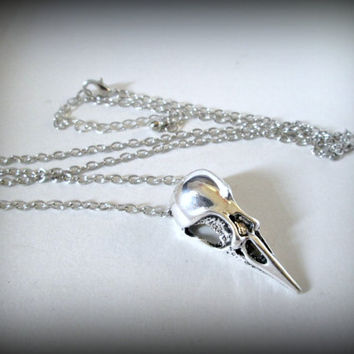 Silver brass bird skull pendant with silver plated chain-raven skull pendant-gothic pendant