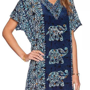 Navy Elephant Print V Neck Short Sleeve Blouse