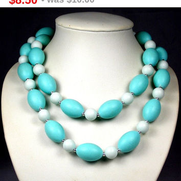 Spring Sale Vintage Light Turquoise White Plastic Beaded Necklace