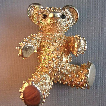 BOUCHER Teddy Bear Brooch-Pin Gold Plate Textured Nodules Bumps Vintage