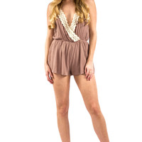Brown Romper with Lace Detailing and Open Back