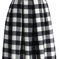 Check and Pleats Belted Midi Skirt Multi
