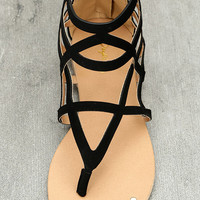 Amra Black Nubuck Gladiator Sandals