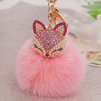 DCCKL6D Fur PomPom Keychain Bag Cute Fox Keychains  Fashion 2016 Real Fox Fur Keyring Women Bag Accessories Pink Key Chain