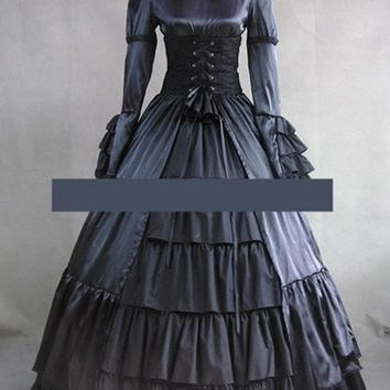 Custom Vintage Long Sleeve Bow Satin Gothic Victorian Dress Black Blue Any Size