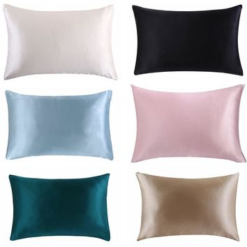 Free shipping 100% nature mulberry Silk pillowcase zipper pillowcases pillow case for healthy standard queen king multicolor