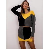 Joyfunear Color-block Sweater & Bodycon Skirt Set