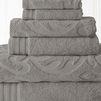 Quick Dry Cotton Towel Set 6 Piece Jacquard (Platinum)