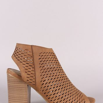 Soda Perforated Nubuck Chunky Heeled Booties