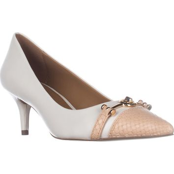 Coach Lauri Pointed Toe Kitten Heel Pumps, Chalk/Beechwood, 10 US