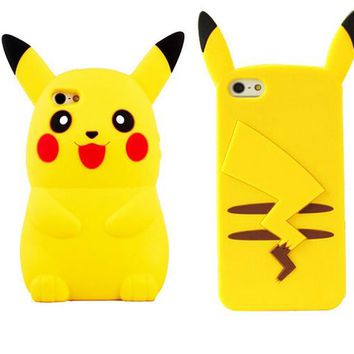 2017 New Style Anime Cartoon 3D  Monsters Pokemon Pikachu Cute Silicone Back Cover Case For iPhone 4s 5 5s 6 8 7plus