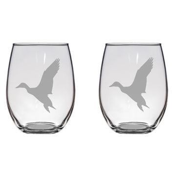Flying Duck Engraved Glasses, Birds, Gift,  Free Personalization