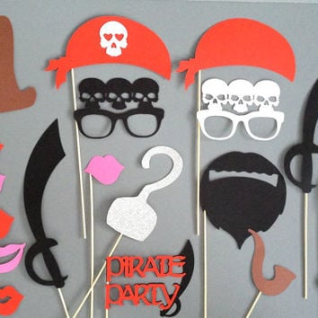 XL Set of 22 PIRATE Photo Booth Props  Large Photo Props Weddings Birthday Parties Halloween Pirate Birthday Party