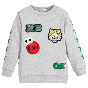 Stella McCartney Boys 'Billy Badges' Grey Sweater