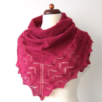 knitted triangle scarf, lace shawl, shimmering amaranth red