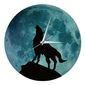 Noctilucent Wolf Simple Wall Clock