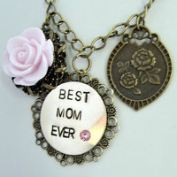 Hand stamped Best Mom Ever necklace
