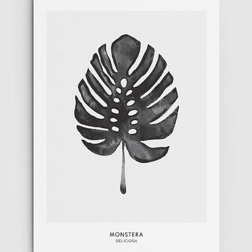 Monstera, Cheese Plant Leaf - PRINTABLE FILE. Tropical Leaf Printable Poster. Monochrome Art. Nordic Minimalist Print. Scandinavian Style.