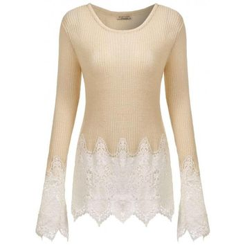 Long Sleeve Cable Knitted Lace Patchwork O Neck Slim Fit Sweaters