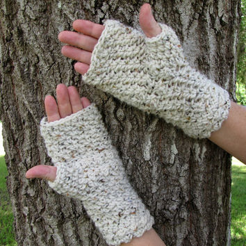 Linen Tweed Crocheted Fingerless Gloves, Off White Winter Gloves, Wrist Warmers, Wristers