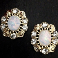 Oval Opal and Gold gauges plugs