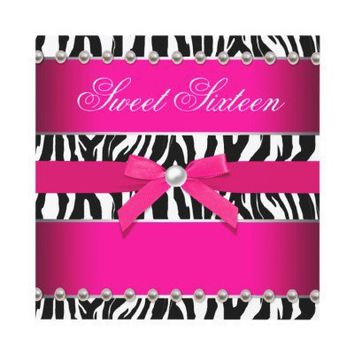 Hot Pink Zebra Sweet 16 Birthday Party Announcement from Zazzle.com
