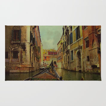 Venice, Italy Canal Gondola View Rug by Theresa Campbell D'August Art