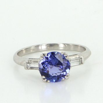 Tanzanite Diamond Vintage Ring Sz 5.25 900 Platinum Estate Fine Jewelry