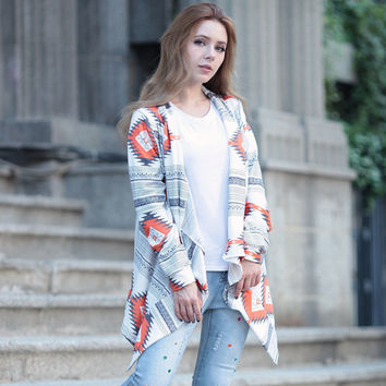 Abstract Print Waterfall Cardigan