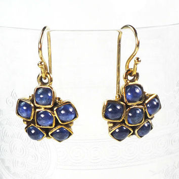 Vintage Sapphire Earrings 14k Gold Earrings Genuine Blue Sapphire Dangle Earrings Cluster Earrings September Birthstone Drop Earrings