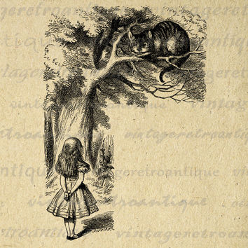 Alice in Wonderland Printable Image Digital Speaking to the Cheshire Cat Download Graphic Antique Clip Art HQ 300dpi No.033