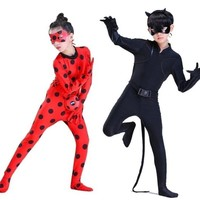 Cool miraculous cat noir ladybug cosplay costume for child fancy dress toddler kids children girls boys adult Lady Bug halloween wigAT_93_12
