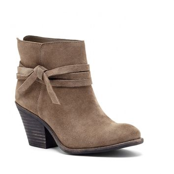 Sole Society Maren Stacked Heel Suede Bootie