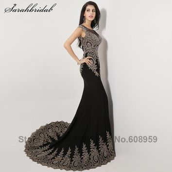 44a4f4cc9d3 2017 Sexy Illusion Mermaid Evening Dresses Crystal Beads Long Pr