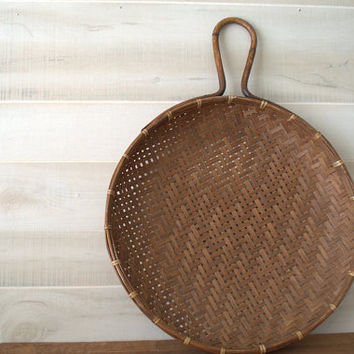 Rustic Wood Wall Basket, VIntage Woven Wall Basket, Decorative Wall Basket