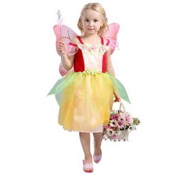 Colorful Girls Spring Time Garden Fairy Mischievous Pixies Halloween Costumes Pretty Magical Creature Fancy Dress For Child 3-8y