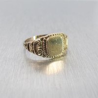 Victorian Signet Ring, 14K Yellow Gold Shell, Ornate Repousse, Antique Monogram Initial Jewelry, Size 6.25